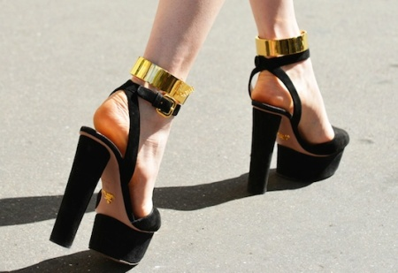 Gold ankle cuffs