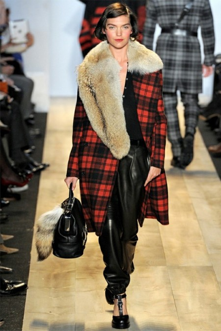 Plaid/fur Michael Kors coat